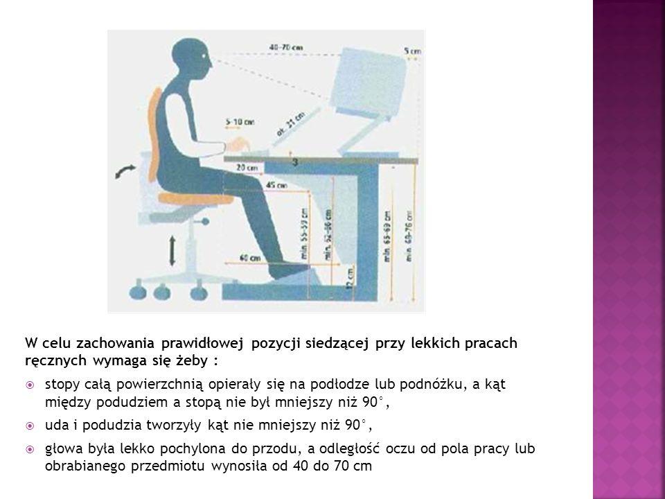 W celu zachowania prawidłowej pozycji siedzącej przy lekkich pracach ręcznych wymaga się żeby :