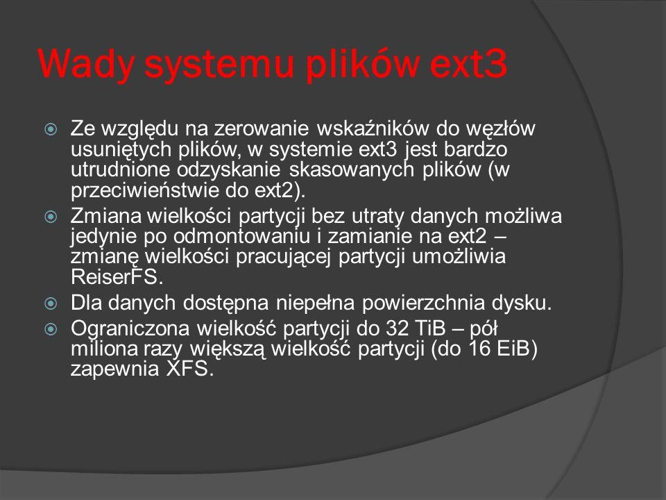 Wady systemu plików ext3