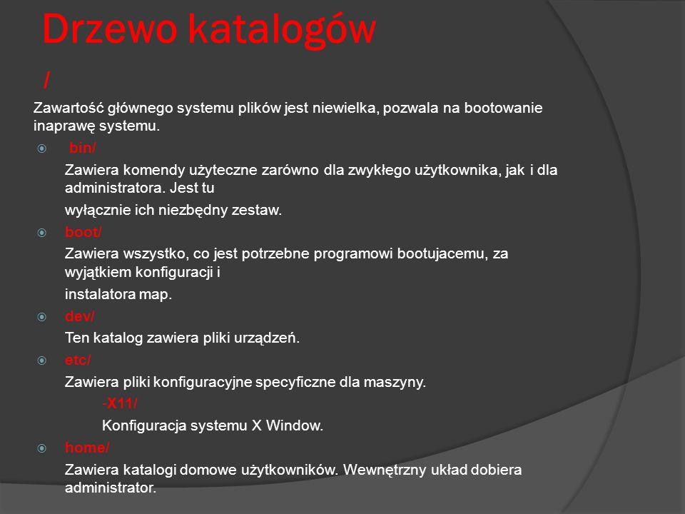 Drzewo katalogów/ Zawartość głównego systemu plików jest niewielka, pozwala na bootowanie inaprawę systemu.