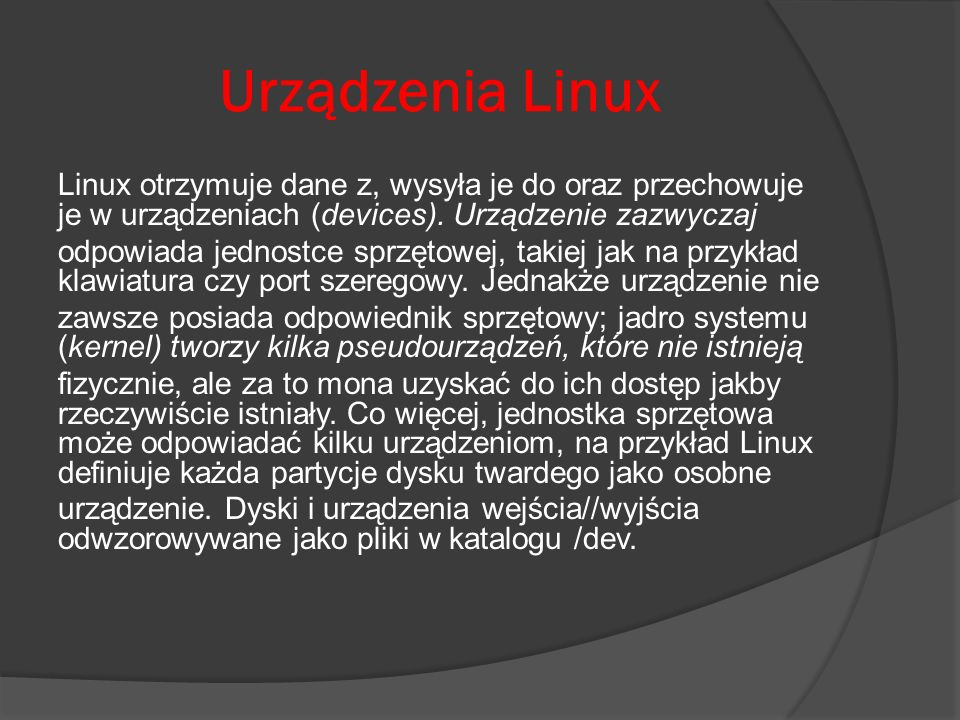 Urządzenia Linux