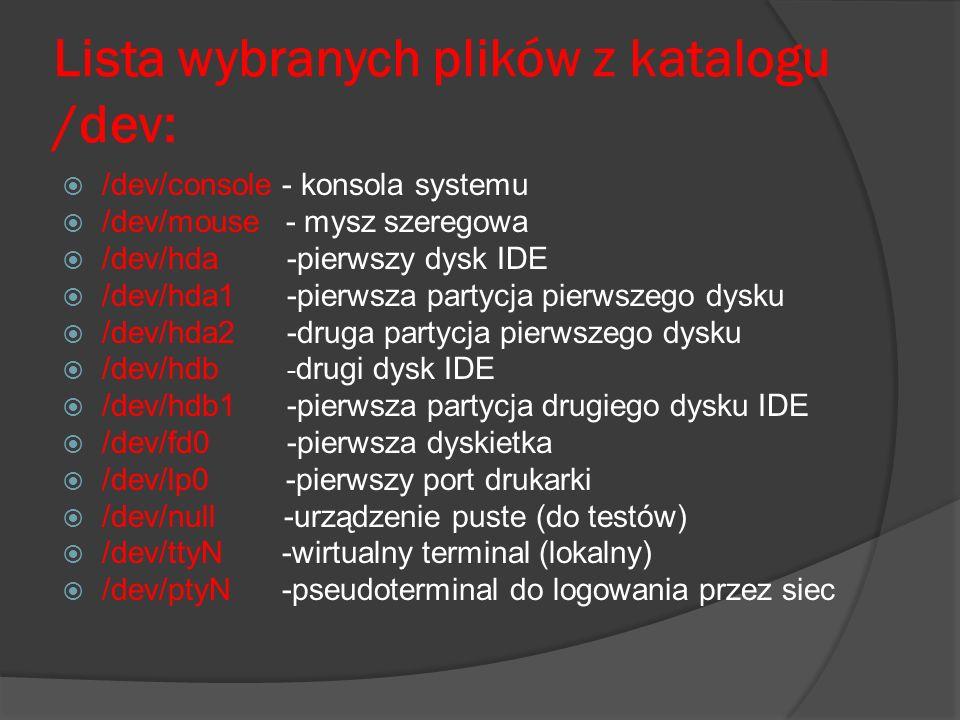 Lista wybranych plików z katalogu /dev: