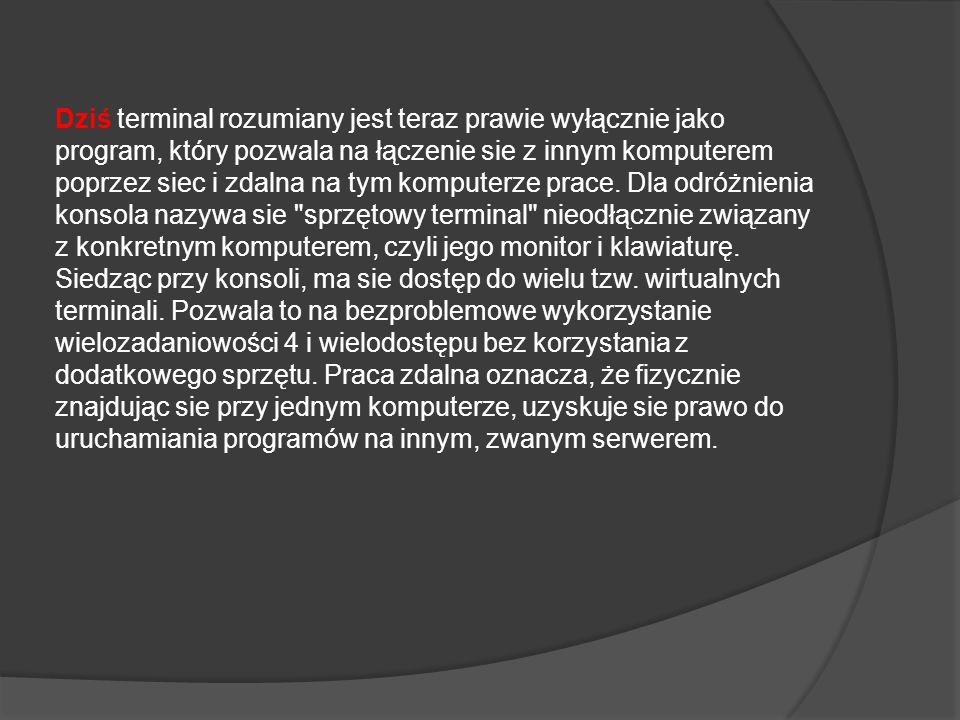 Dziś terminal rozumiany jest teraz prawie wyłącznie jako program, który pozwala na łączenie sie z innym komputerem poprzez siec i zdalna na tym komputerze prace.