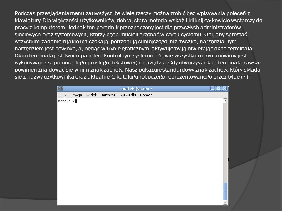 Podczas przeglądania menu zauważysz, że wiele rzeczy można zrobić bez wpisywania poleceń z klawiatury.
