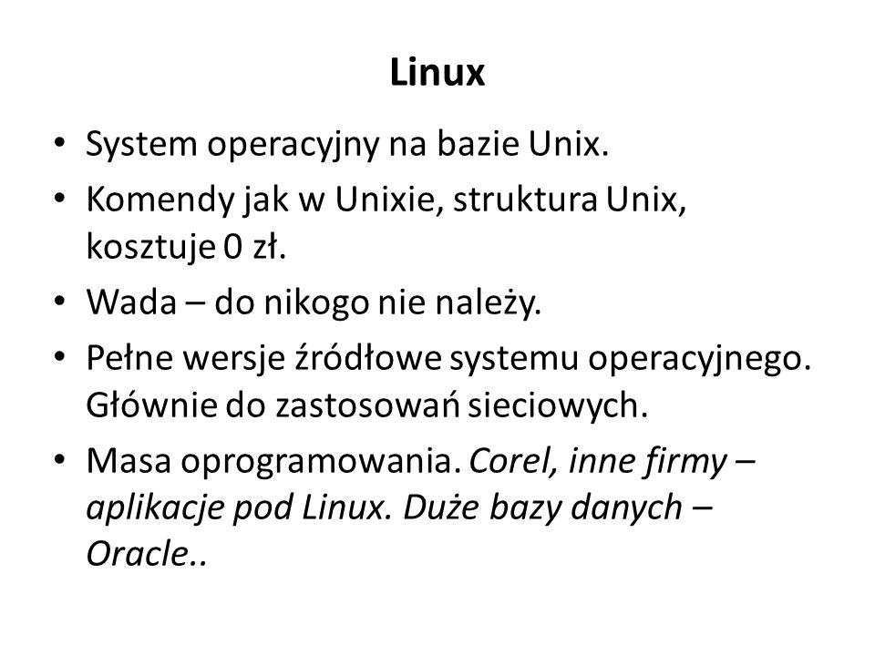 Linux System operacyjny na bazie Unix.