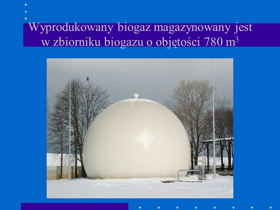Wyprodukowany biogaz magazynowany jest w zbiorniku biogazu o objętości 780 m3