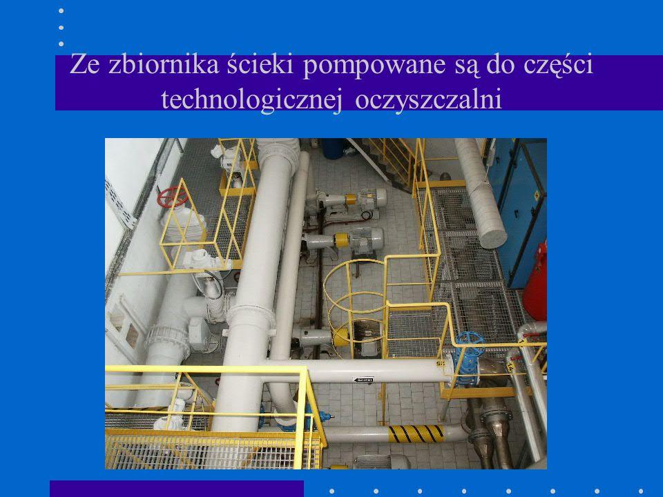 Ze zbiornika ścieki pompowane są do części technologicznej oczyszczalni