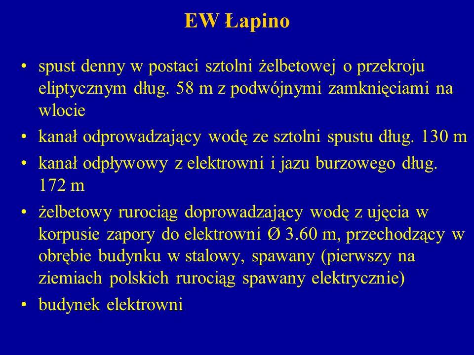 EW Łapino spust denny w postaci sztolni żelbetowej o przekroju eliptycznym dług. 58 m z podwójnymi zamknięciami na wlocie.