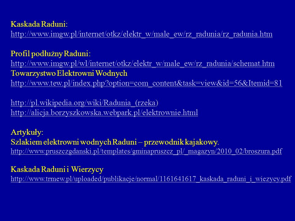 Profil podłużny Raduni:
