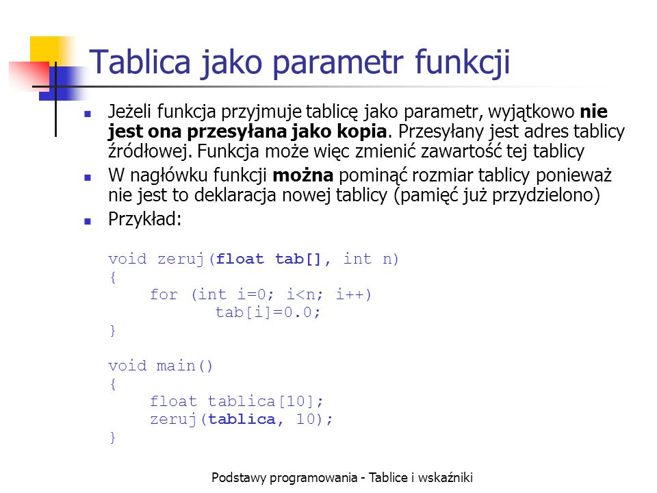 Tablica jako parametr funkcji