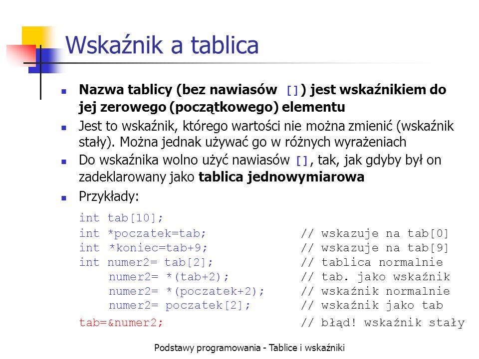 Podstawy programowania - Tablice i wskaźniki