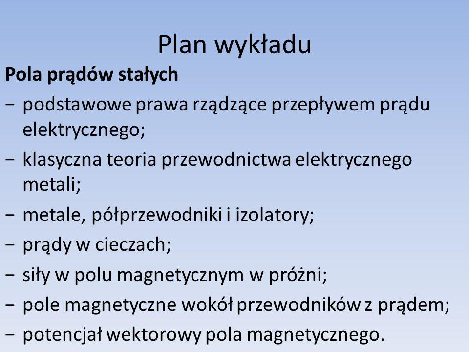 Plan wykładu Pola prądów stałych