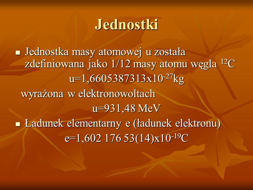 JednostkiJednostka masy atomowej u została zdefiniowana jako 1/12 masy atomu węgla 12C. u=1,6605387313x10-27kg.