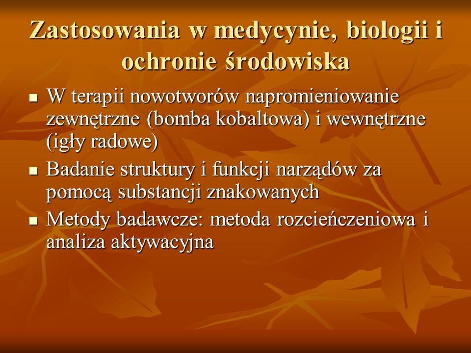 Zastosowania w medycynie, biologii i ochronie środowiska