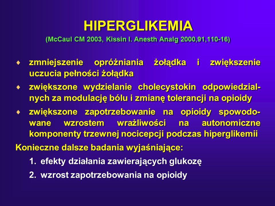 HIPERGLIKEMIA (McCaul CM 2003, Kissin I. Anesth Analg 2000,91,110-16)