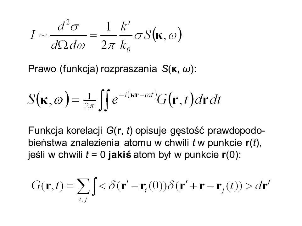 Prawo (funkcja) rozpraszania S(κ, ω):