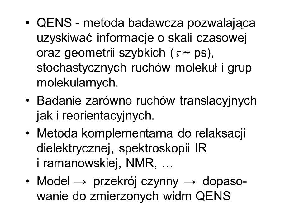 QENS - metoda badawcza pozwalająca uzyskiwać informacje o skali czasowej oraz geometrii szybkich ( ~ ps), stochastycznych ruchów molekuł i grup molekularnych.