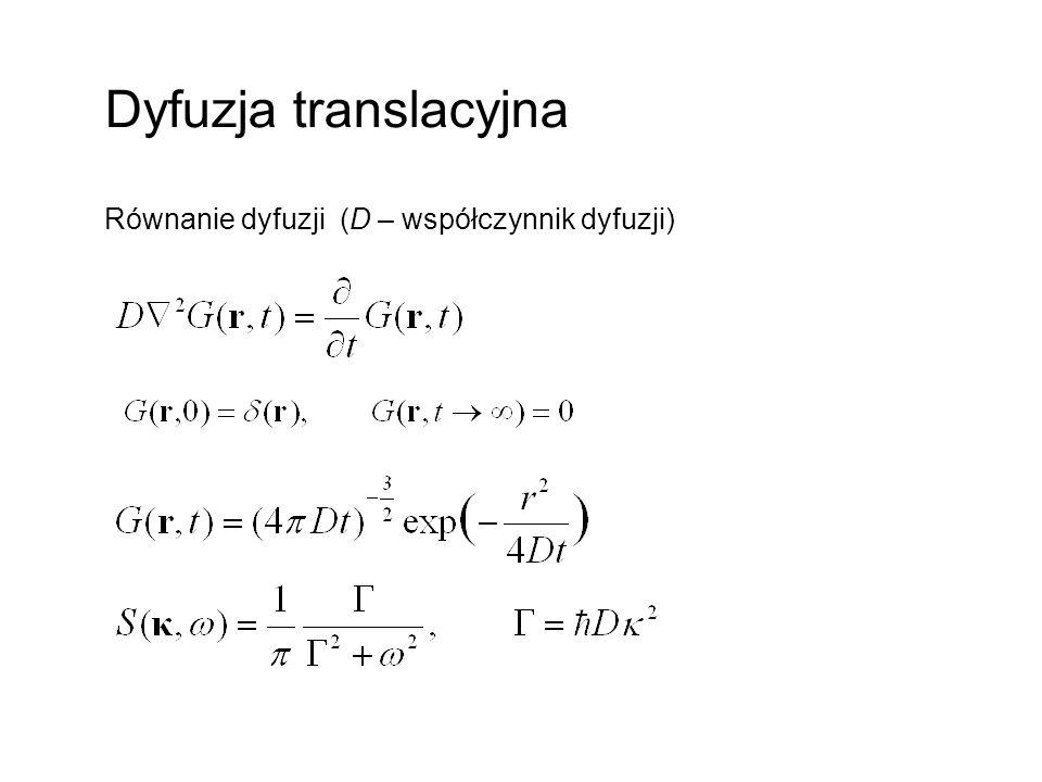 Dyfuzja translacyjna Równanie dyfuzji (D – współczynnik dyfuzji)