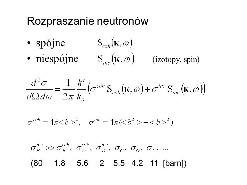 Rozpraszanie neutronów spójne niespójne (izotopy, spin)