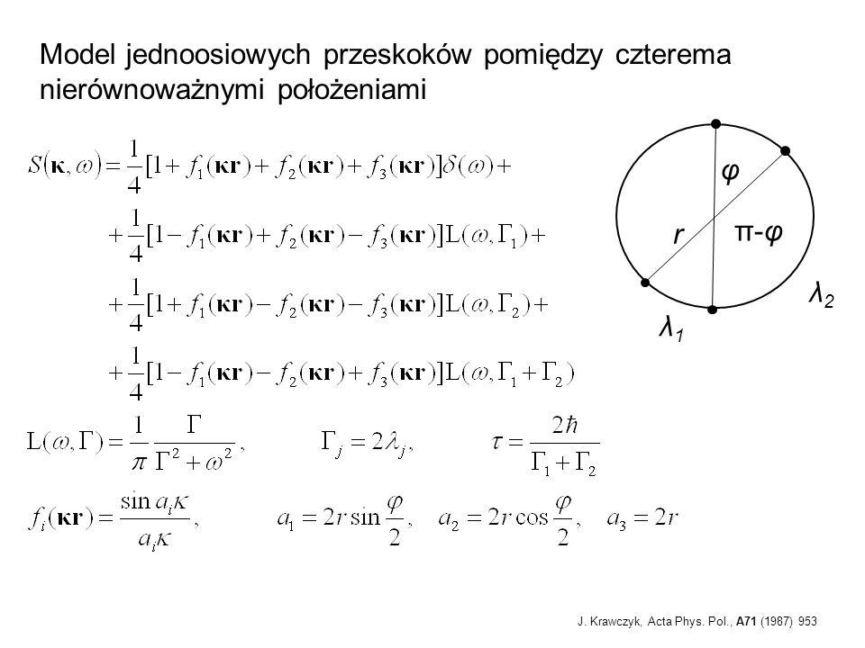 Model jednoosiowych przeskoków pomiędzy czterema nierównoważnymi położeniami