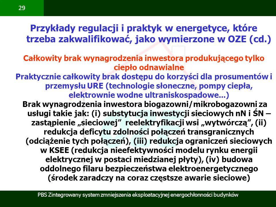 Przykłady regulacji i praktyk w energetyce, które trzeba zakwalifikować, jako wymierzone w OZE (cd.)