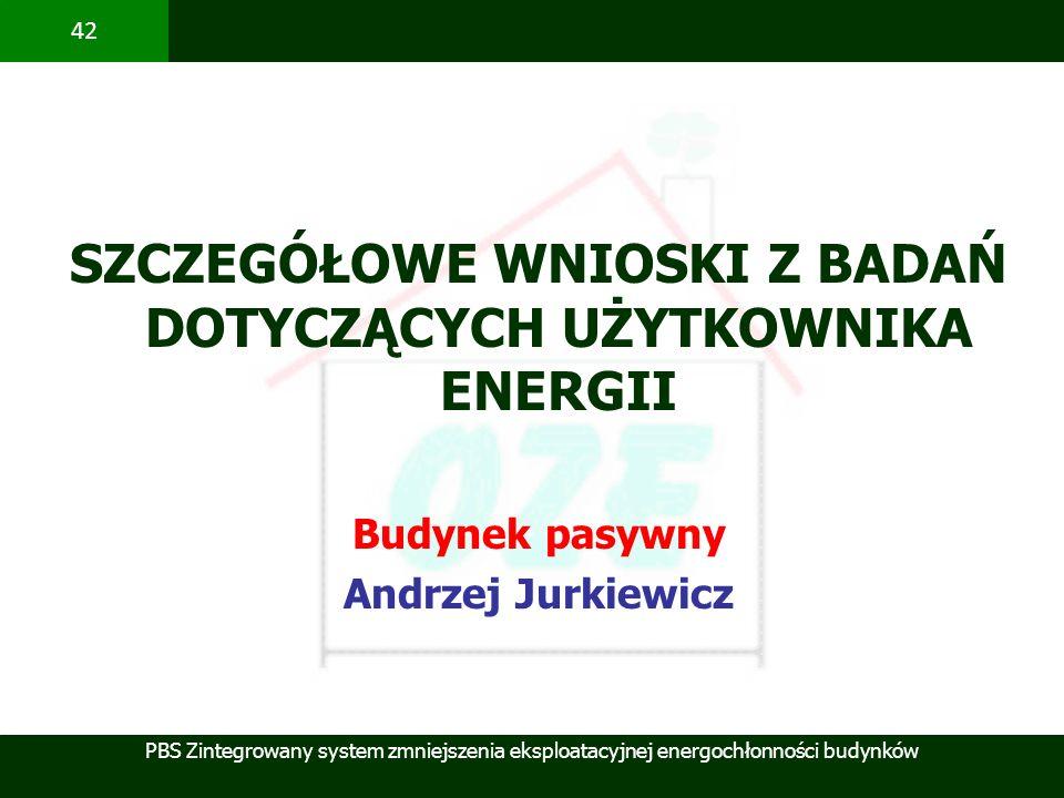 SZCZEGÓŁOWE WNIOSKI Z BADAŃ DOTYCZĄCYCH UŻYTKOWNIKA ENERGII