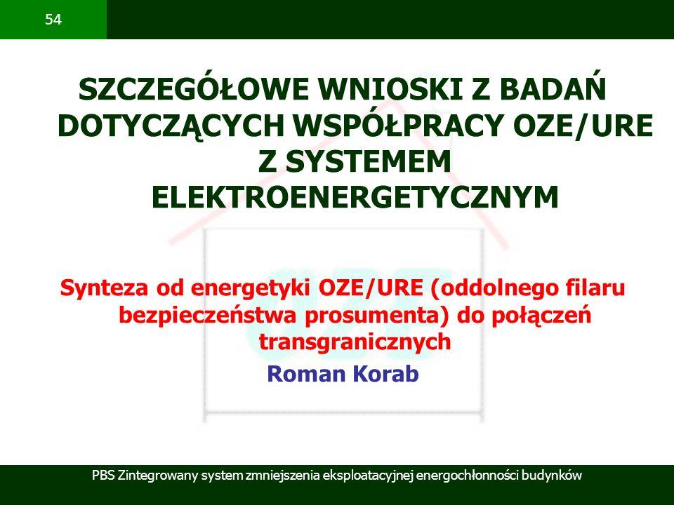 SZCZEGÓŁOWE WNIOSKI Z BADAŃ DOTYCZĄCYCH WSPÓŁPRACY OZE/URE Z SYSTEMEM ELEKTROENERGETYCZNYM