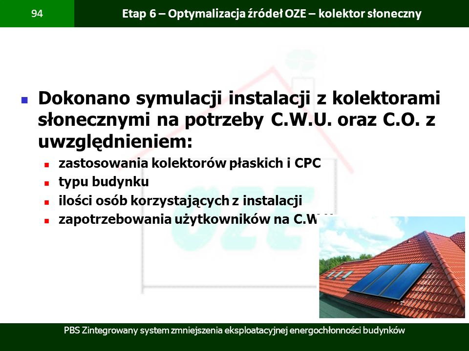 Etap 6 – Optymalizacja źródeł OZE – kolektor słoneczny