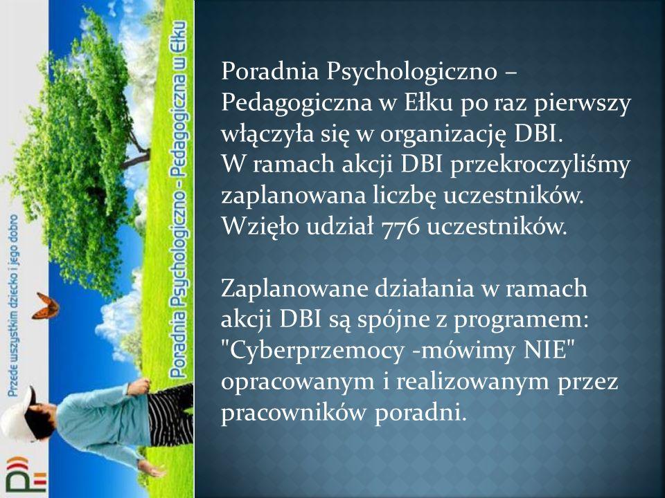 Poradnia Psychologiczno –Pedagogiczna w Ełku po raz pierwszy włączyła się w organizację DBI.