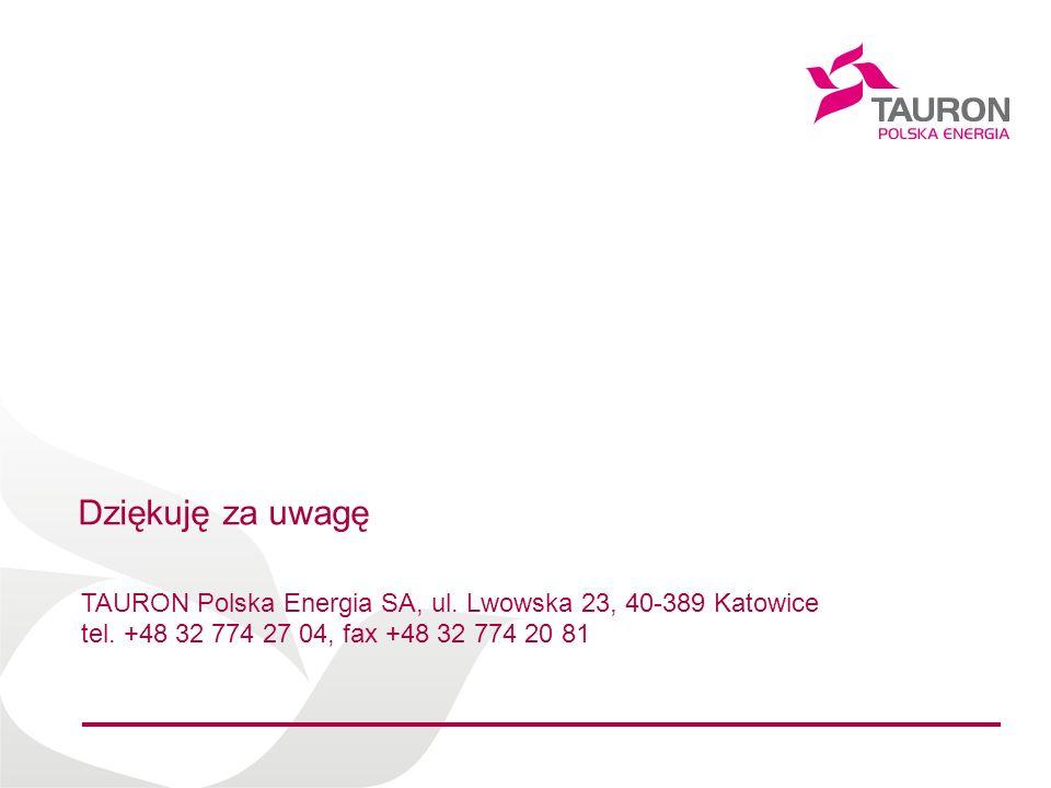 Dziękuję za uwagę TAURON Polska Energia SA, ul. Lwowska 23, 40-389 Katowice.