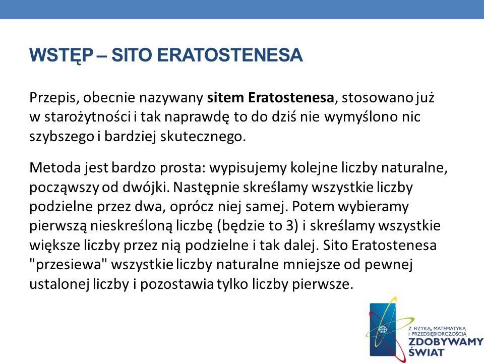 Wstęp – sito Eratostenesa