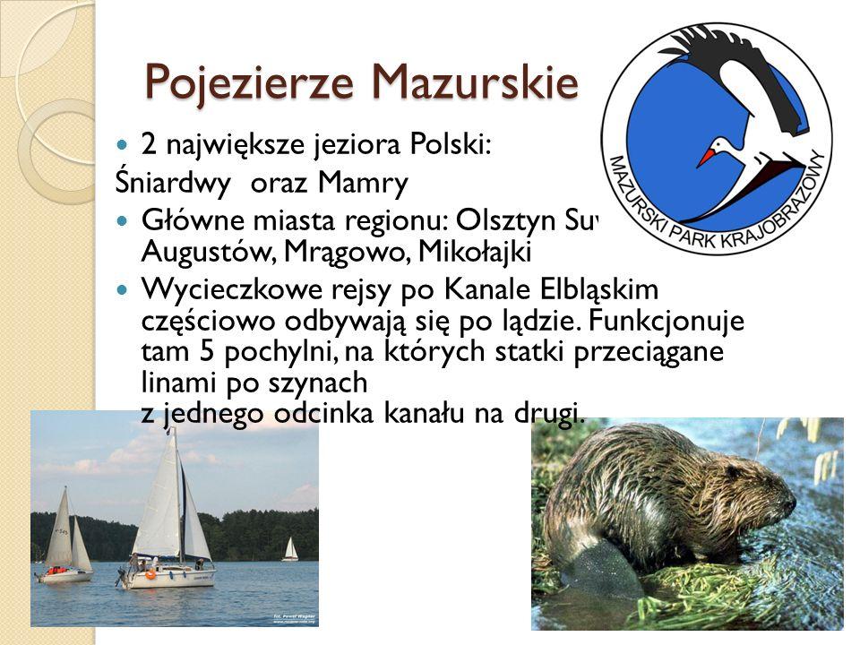Pojezierze Mazurskie 2 największe jeziora Polski: Śniardwy oraz Mamry