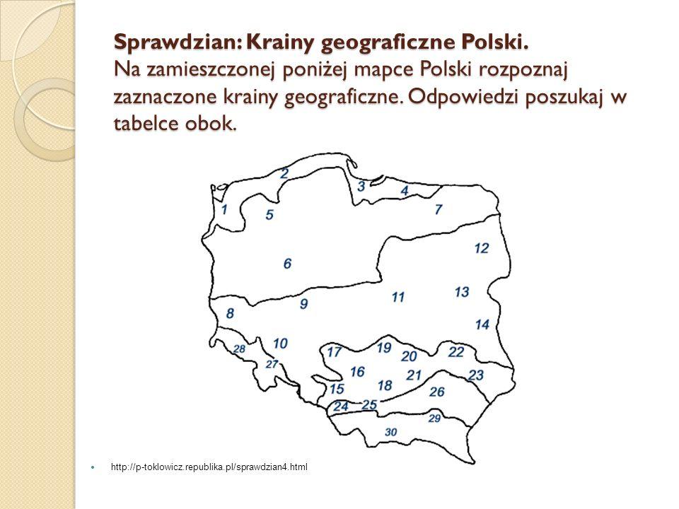 Sprawdzian: Krainy geograficzne Polski