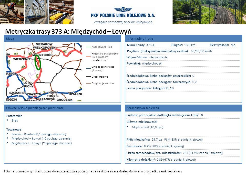 Metryczka trasy 373 A: Międzychód – Łowyń