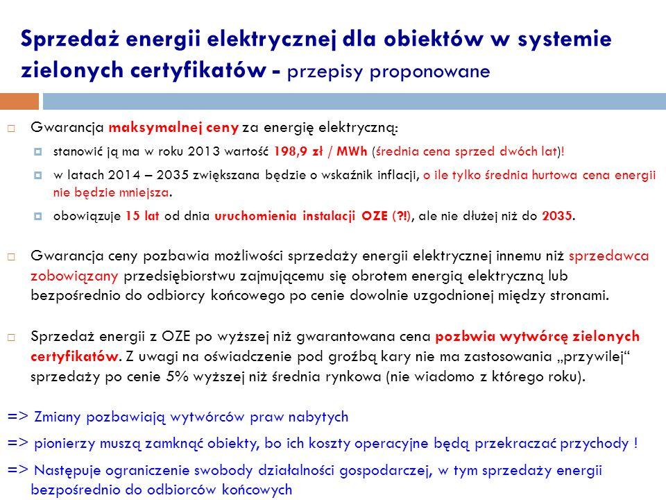 Sprzedaż energii elektrycznej dla obiektów w systemie zielonych certyfikatów - przepisy proponowane