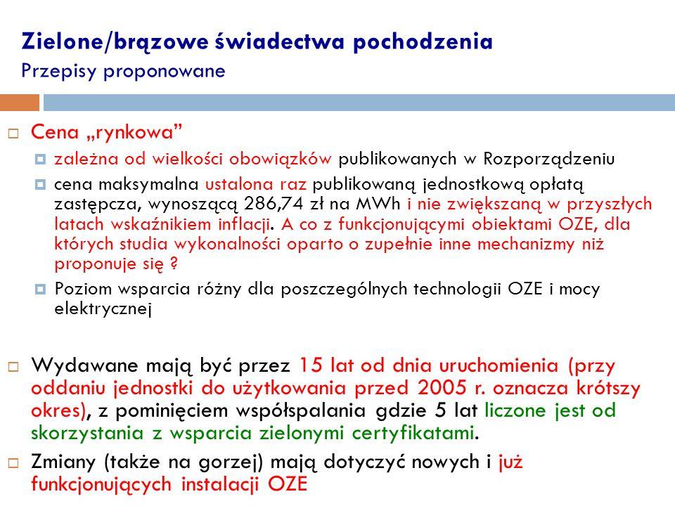 Zielone/brązowe świadectwa pochodzenia Przepisy proponowane