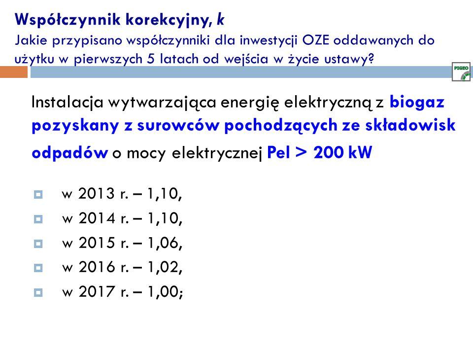 odpadów o mocy elektrycznej Pel > 200 kW