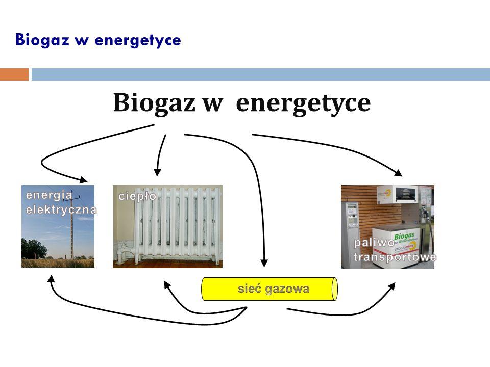 Biogaz w energetyce Biogaz w energetyce energia ciepło elektryczna