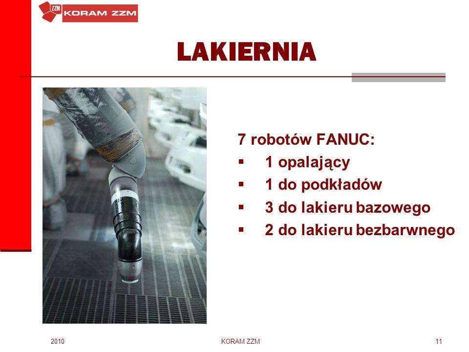 LAKIERNIA 7 robotów FANUC: 1 opalający 1 do podkładów
