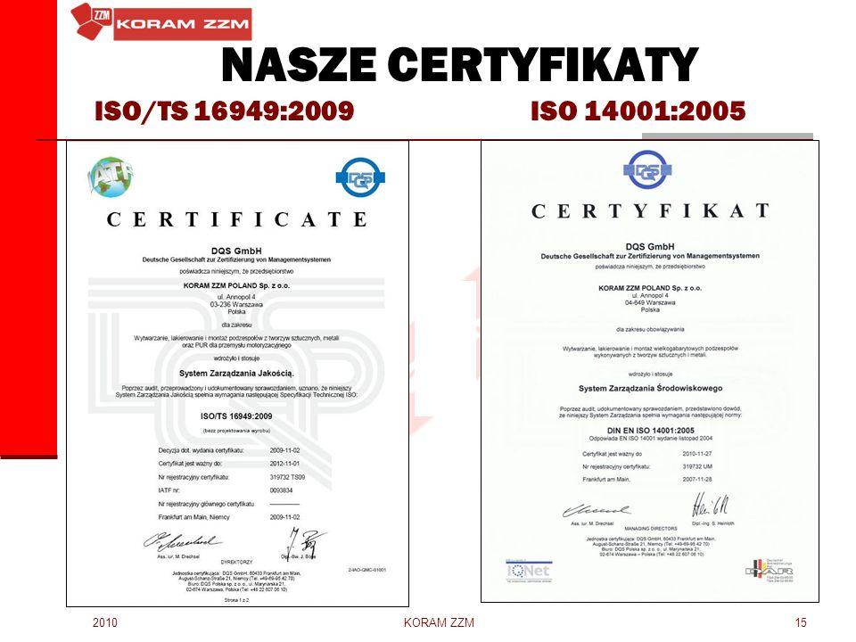 NASZE CERTYFIKATY ISO/TS 16949:2009 ISO 14001:2005