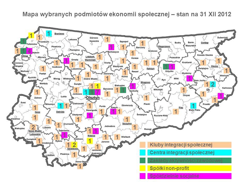 Mapa wybranych podmiotów ekonomii społecznej – stan na 31 XII 2012