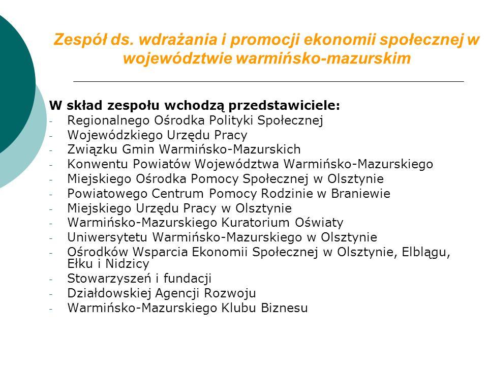 Zespół ds. wdrażania i promocji ekonomii społecznej w województwie warmińsko-mazurskim