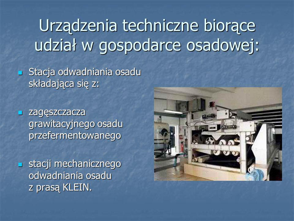 Urządzenia techniczne biorące udział w gospodarce osadowej: