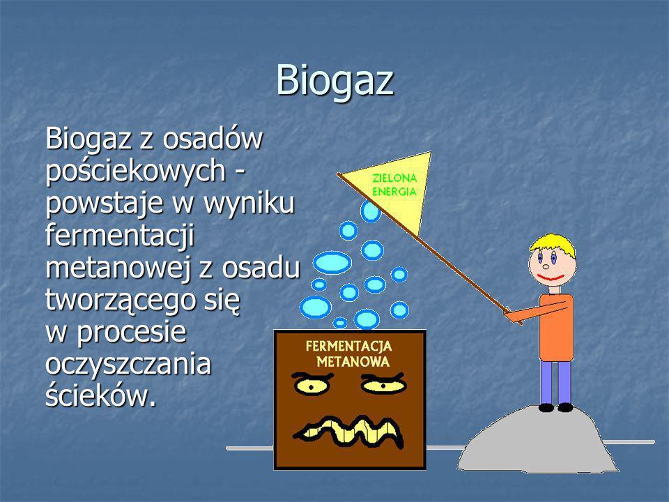 Biogaz Biogaz z osadów pościekowych - powstaje w wyniku fermentacji metanowej z osadu tworzącego się w procesie oczyszczania ścieków.