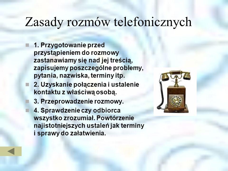 Zasady rozmów telefonicznych