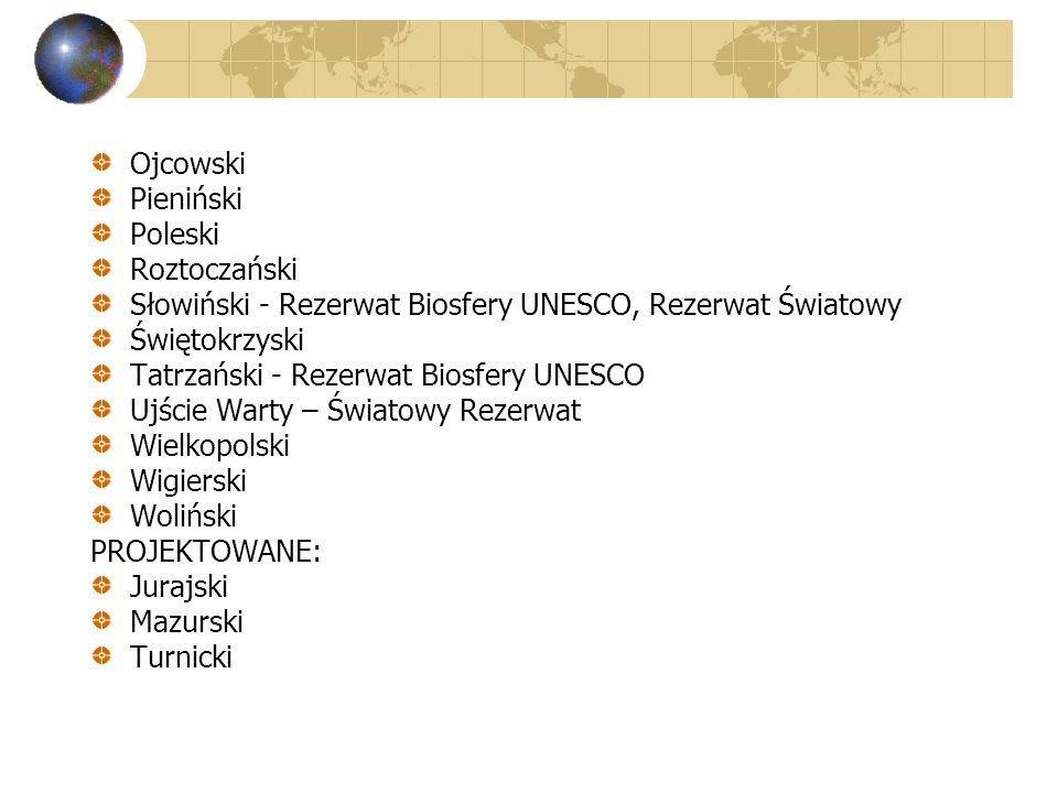 Ojcowski Pieniński. Poleski. Roztoczański. Słowiński - Rezerwat Biosfery UNESCO, Rezerwat Światowy.