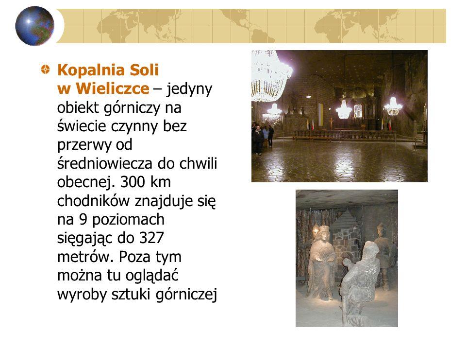 Kopalnia Soli w Wieliczce – jedyny obiekt górniczy na świecie czynny bez przerwy od średniowiecza do chwili obecnej.