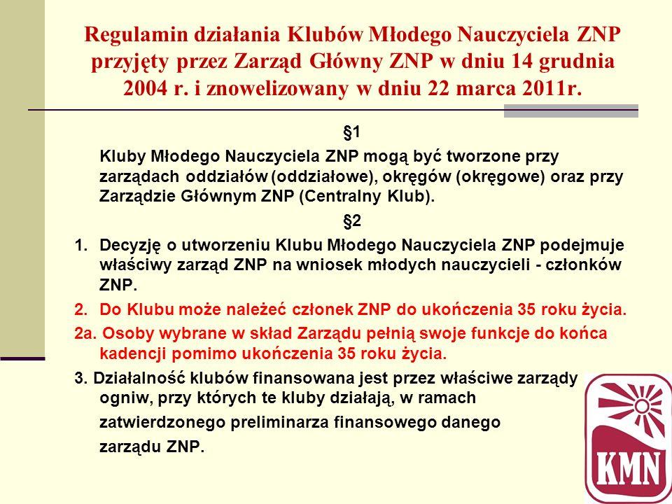 Regulamin działania Klubów Młodego Nauczyciela ZNP przyjęty przez Zarząd Główny ZNP w dniu 14 grudnia 2004 r. i znowelizowany w dniu 22 marca 2011r.