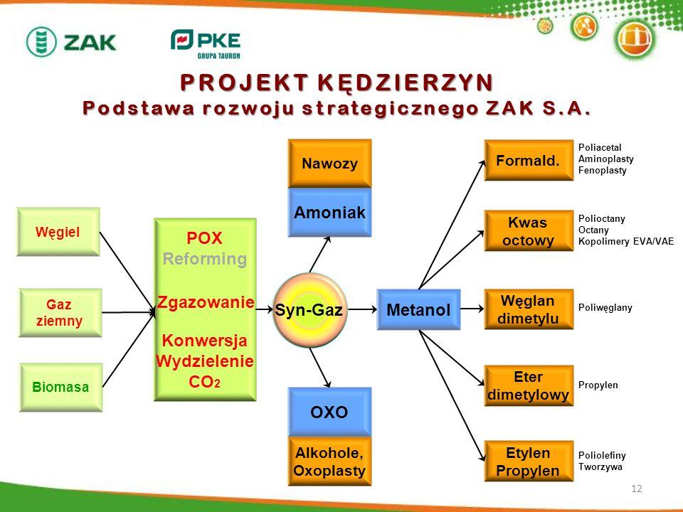 PROJEKT KĘDZIERZYN Podstawa rozwoju strategicznego ZAK S.A.