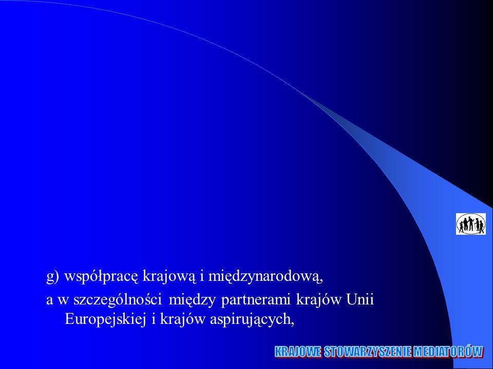 g) współpracę krajową i międzynarodową,