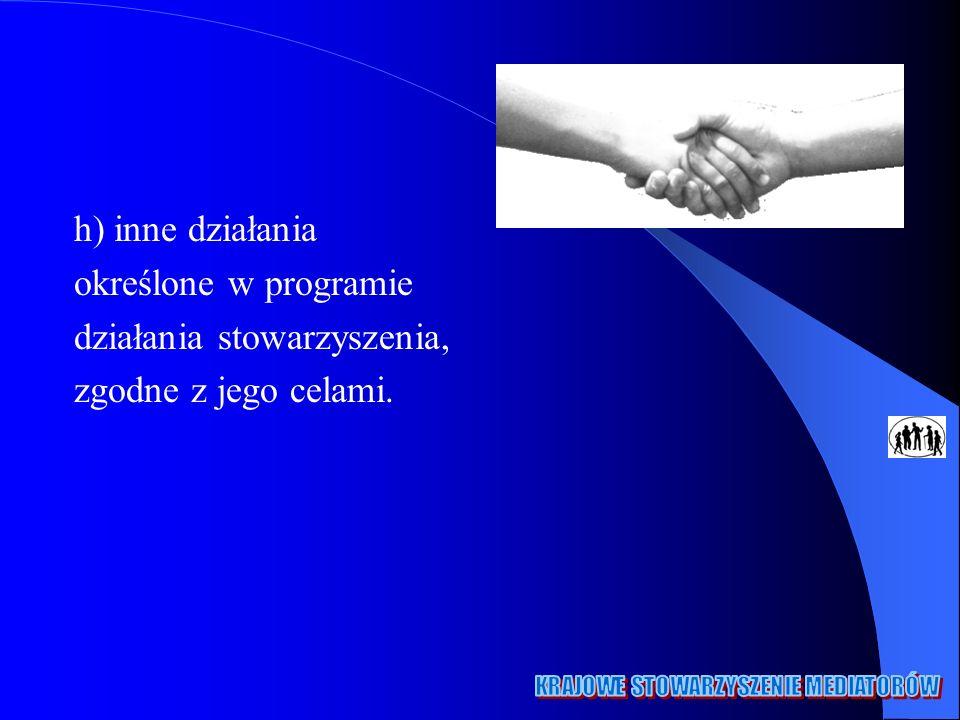 h) inne działania określone w programie działania stowarzyszenia, zgodne z jego celami.